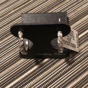 Jewelry - Brand New Bridge Diamond Hoop Earrings